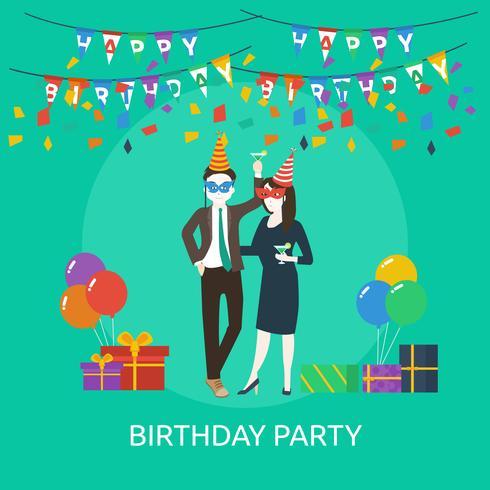 Progettazione dell'illustrazione concettuale della festa di compleanno vettore