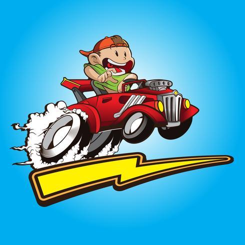 ragazzo carino con la sua auto hot rods vettore
