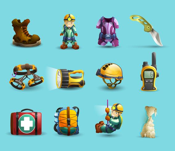Set di icone di speleologia 3d vettore