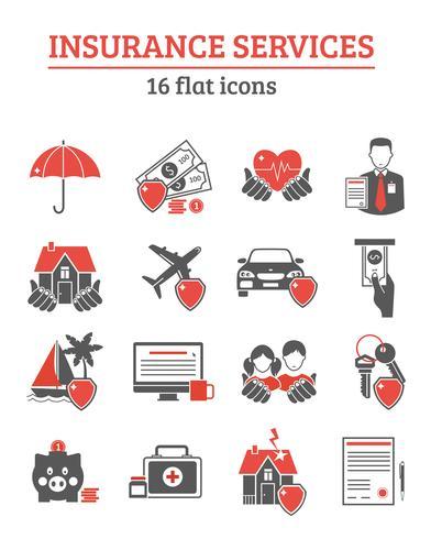 Set di icone di servizi assicurativi vettore