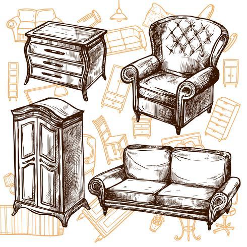 Concetto senza cuciture di schizzo della mobilia vettore