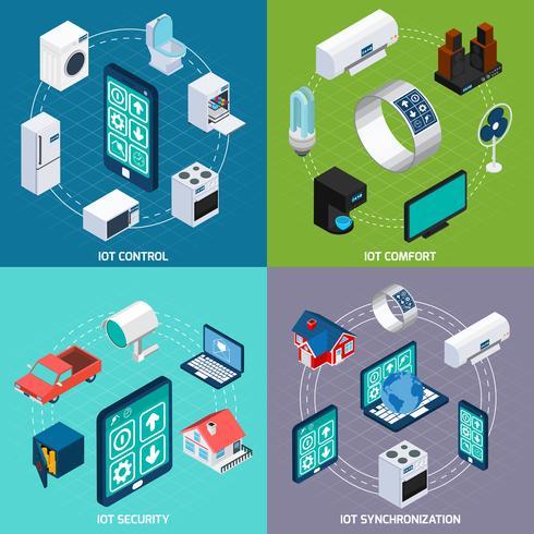 Insegna quadrata delle icone isometriche di Iot 4 vettore