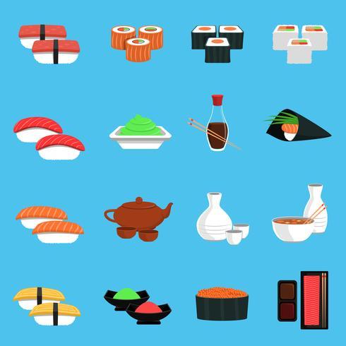 Set di icone di sushi vettore