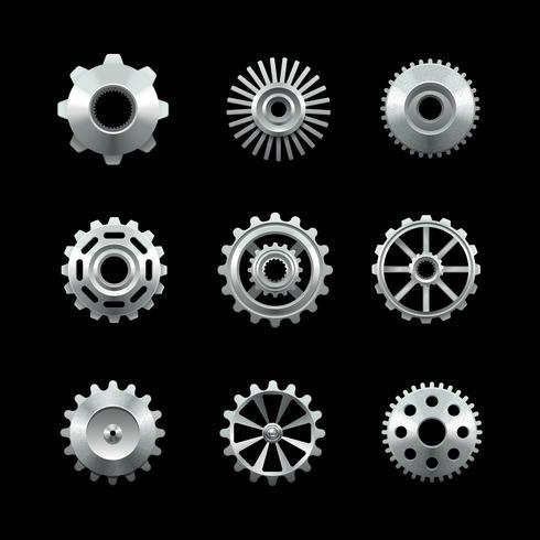 Set di ingranaggi in metallo lucido vettore