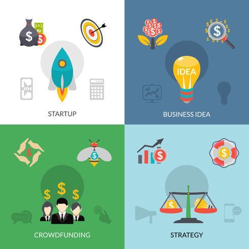 Startup crowdfunding 4 banner quadrato piatto vettore