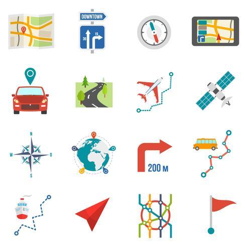 Mappa icone piatte vettore