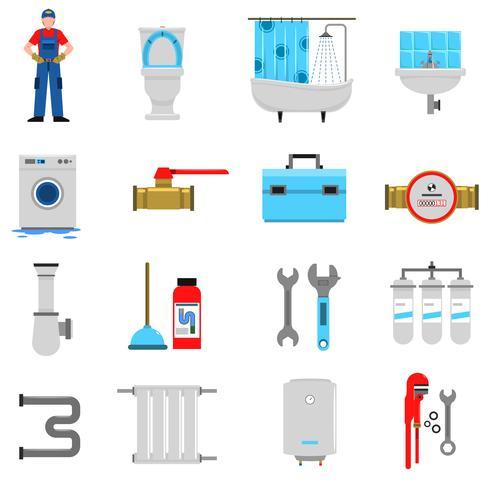 Set di icone di impianto idraulico vettore