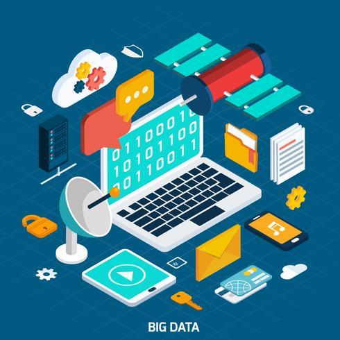 Concetto isometrico di Big Data vettore