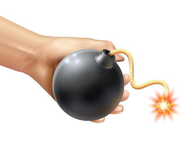 Mano che tiene un'illustrazione di bomba vettore