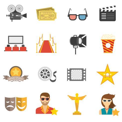 Icone di film piatte vettore