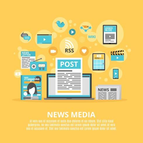 Manifesto piano di composizione di icone di media di notizie vettore