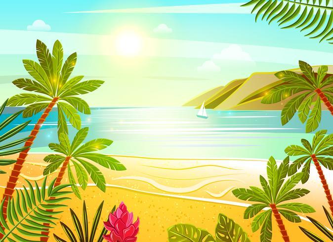 Stampa poster mare tropicale spiaggia piatta vettore