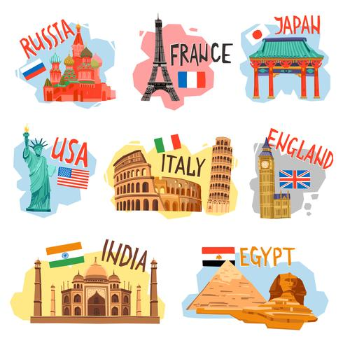 Set di pittogrammi di viaggi vacanze viaggi piatte vettore