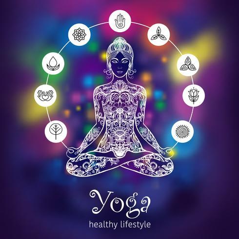 Insegna di colore della donna di meditazione del loto di yoga vettore