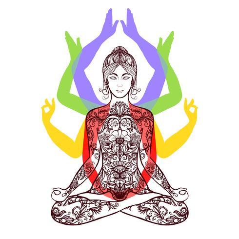 Yoga che medita nell'icona di asana del loto vettore