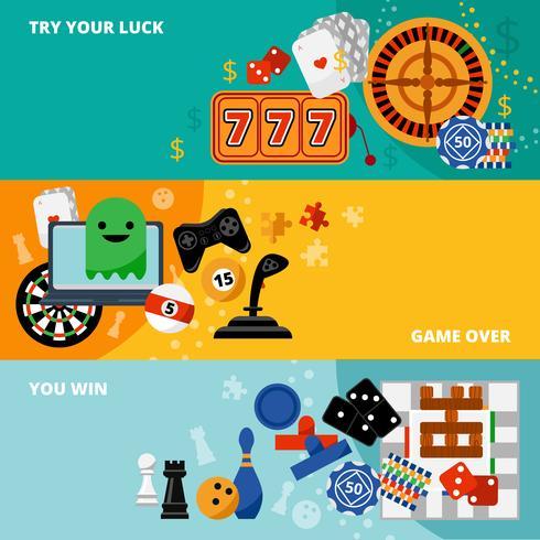 Set di banner piatto giochi di gioco vettore