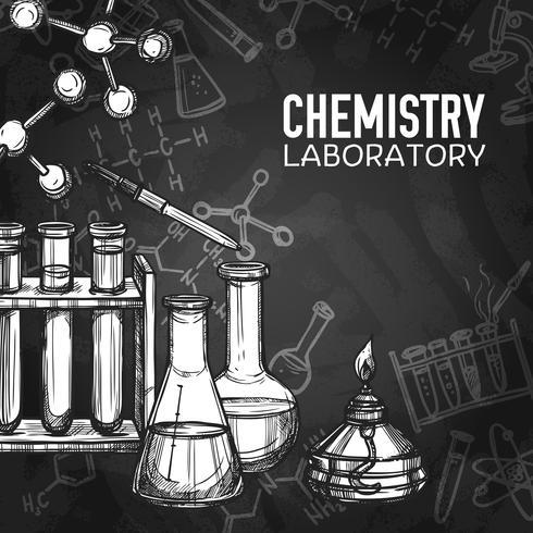 Fondo della lavagna del laboratorio di chimica vettore