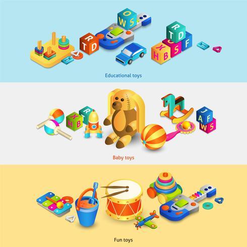 Banner isometrici di giocattoli vettore