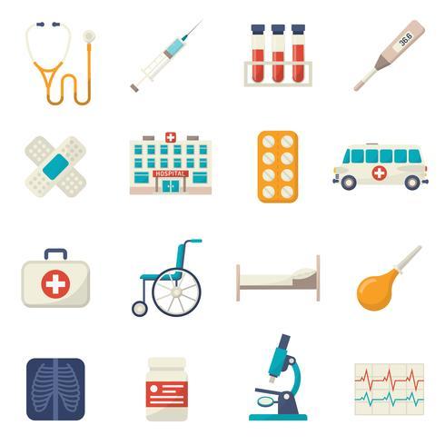 Set piatto di icone mediche vettore
