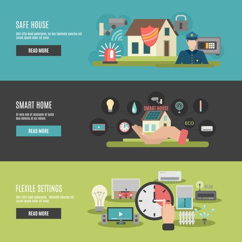 Smart home 3 banner interattivi piatti vettore