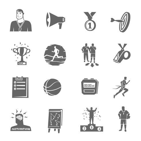 Set di icone di coaching e sport vettore