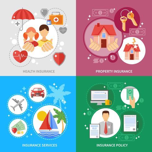 Set di icone di concetto di assicurazione vettore