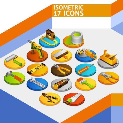Strumenti icone isometriche vettore