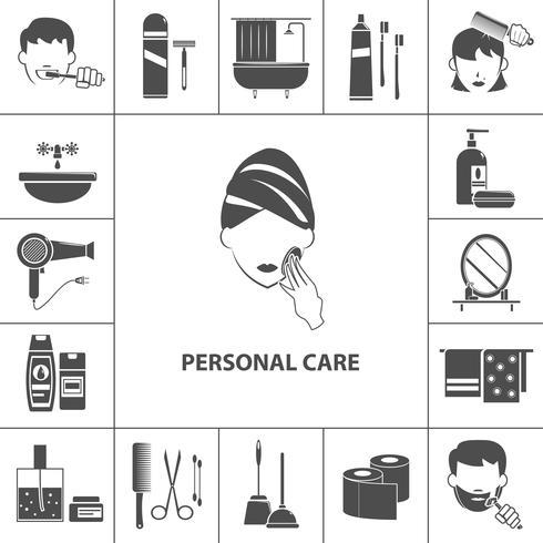 Manifesto della composizione delle icone dei prodotti di cura personale vettore