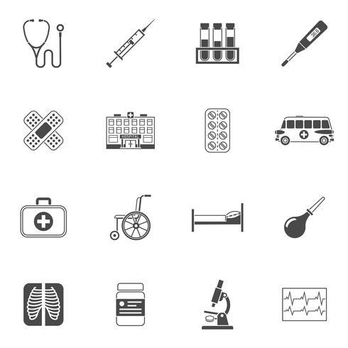 Icone mediche nere vettore