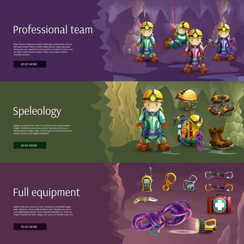 Set di banner 3d interattivi di speleologia vettore
