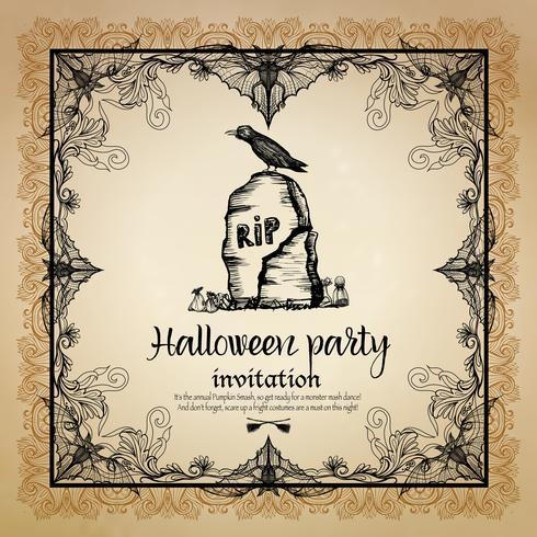 Invito d'annata di Halloween con la struttura vettore