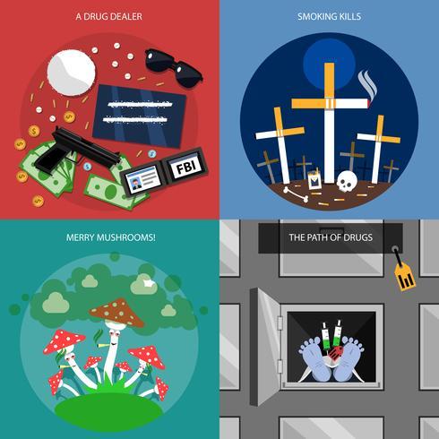 Set di icone di concetto di droga vettore