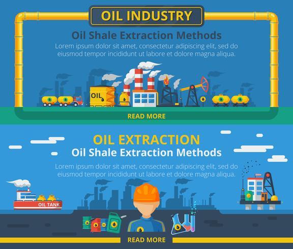 Set di banner industria petrolifera vettore