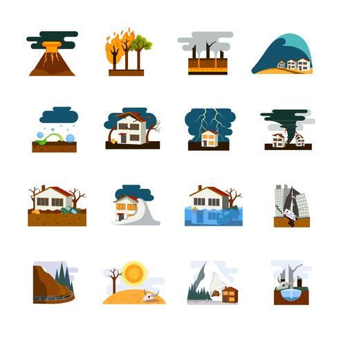 Set di icone piane di disastro naturale vettore