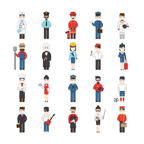 Personaggi dei cartoni animati di diverse professioni vettore