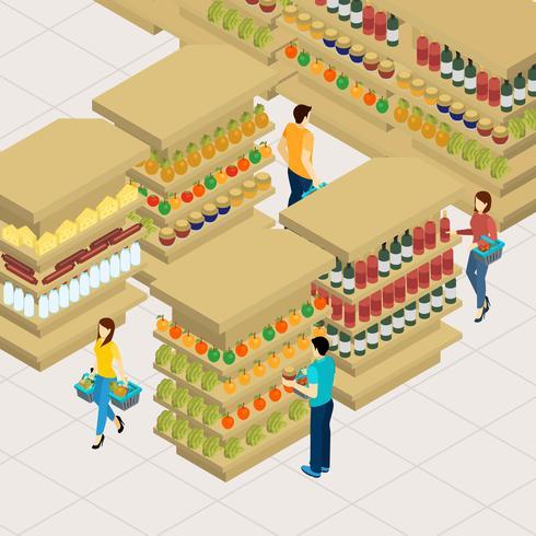 Illustrazione dello shopping di persone vettore