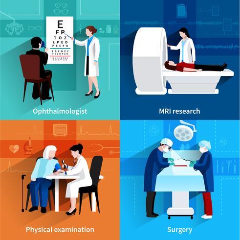 Specialisti medici 4 icone piane quadrate vettore