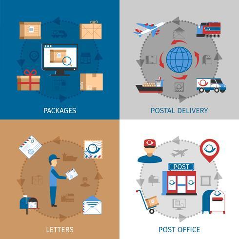 Set di icone di concetto di posta vettore