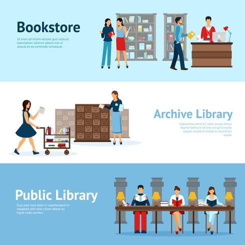 Set di banner orizzontali di libreria vettore