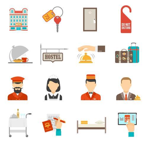 Set di icone di hotel vettore