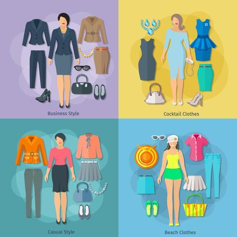 Insieme delle icone di concetto del quadrato dei vestiti della donna vettore