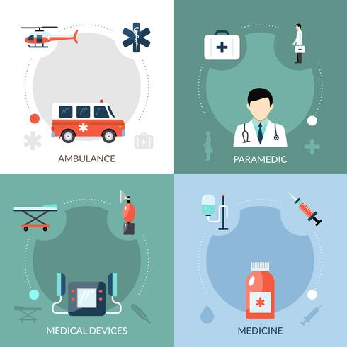 Set di icone di paramedico di emergenza vettore