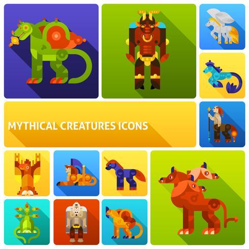 Set di icone di creature mitiche vettore