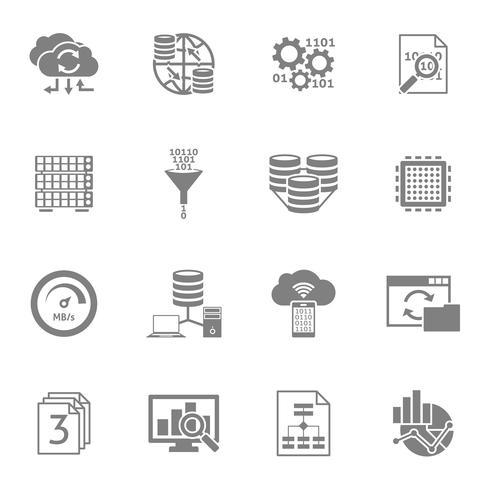 Set di icone nere di analisi dei dati del database vettore