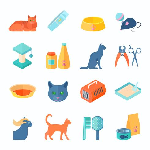 Icone piane del gatto dell'interno sano messe vettore