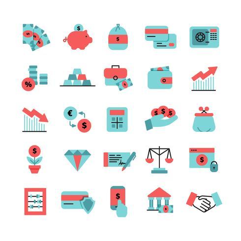 Set di icone di colore piatto finanza vettore