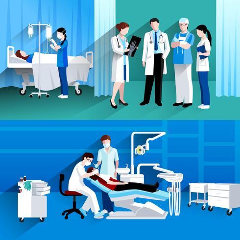 Medico e infermiera 2 bandiere mediche vettore