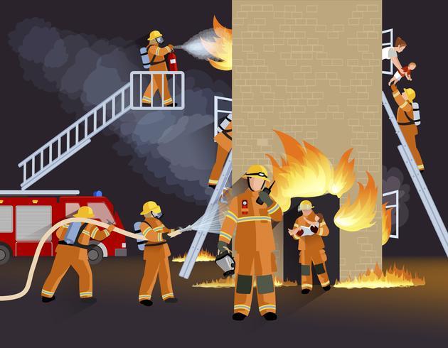 Vigile del fuoco persone Design Concept vettore