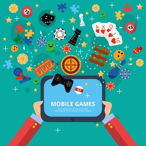 Poster di intrattenimento per giochi mobile vettore