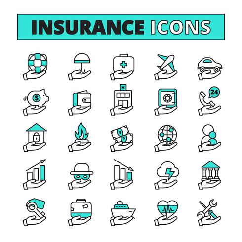 Set di icone di assicurazione vettore